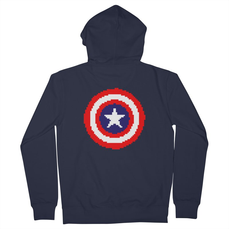 Captain America | Pixel Logo Women's French Terry Zip-Up Hoody by Silli Philli Produktionz