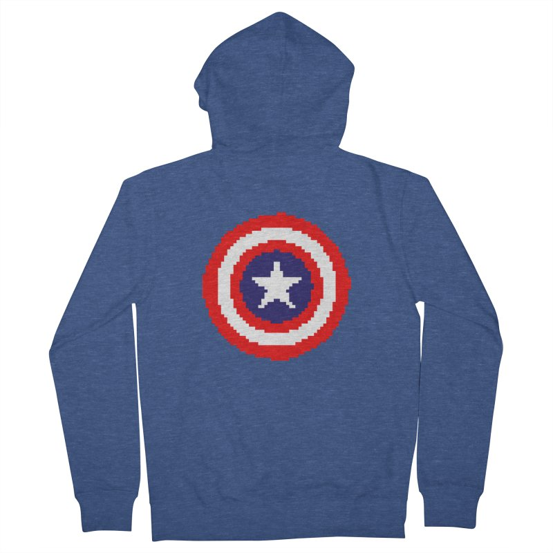 Captain America | Pixel Logo Men's Zip-Up Hoody by Silli Philli Produktionz | Custom Prints