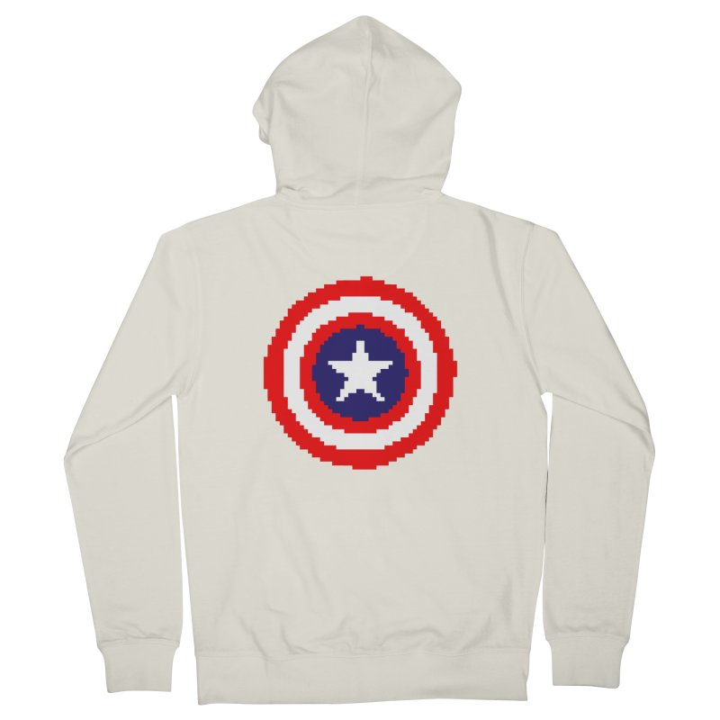 Captain America | Pixel Logo Men's French Terry Zip-Up Hoody by Silli Philli Produktionz