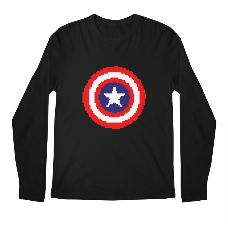 Captain America | Pixel Logo Men's Regular Longsleeve T-Shirt by Silli Philli Produktionz