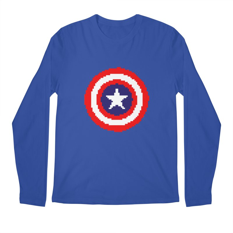 Captain America | Pixel Logo Men's Regular Longsleeve T-Shirt by Silli Philli Produktionz