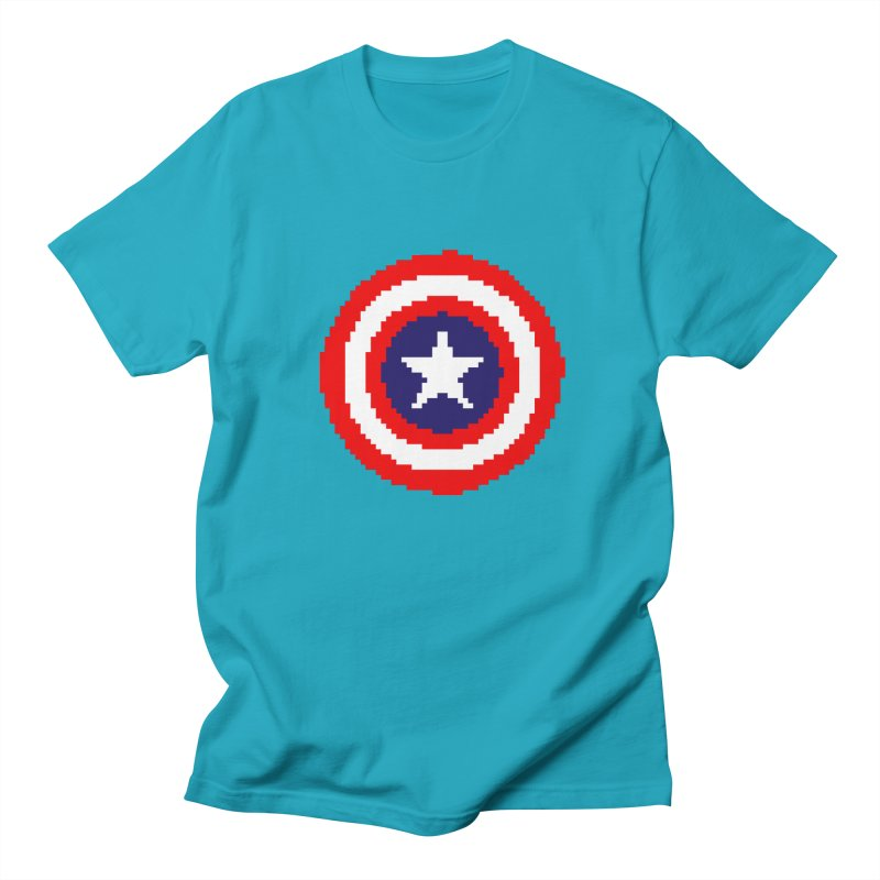 Captain America | Pixel Logo Men's T-Shirt by Silli Philli Produktionz | Custom Prints