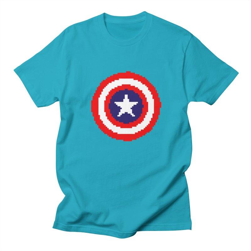 Captain America | Pixel Logo Men's Regular T-Shirt by Silli Philli Produktionz