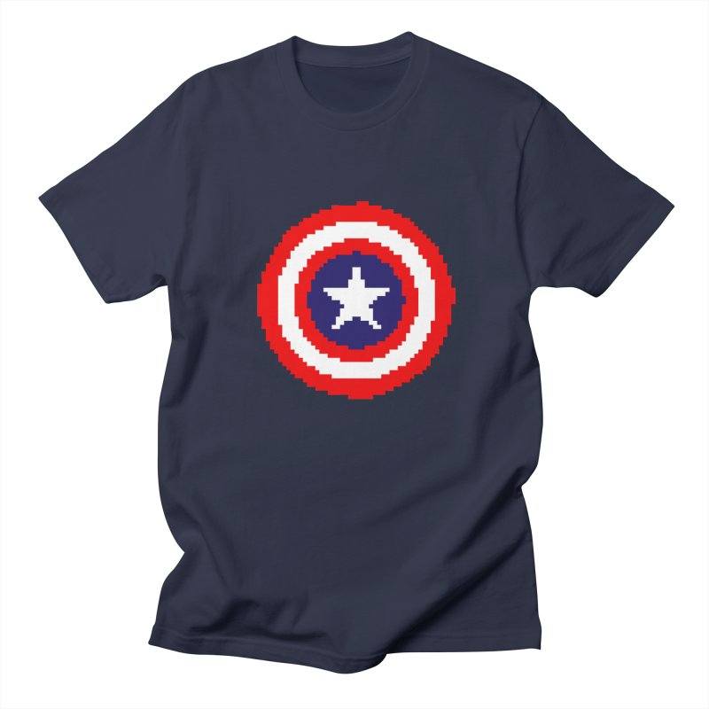 Captain America | Pixel Logo Men's Regular T-Shirt by Silli Philli Produktionz