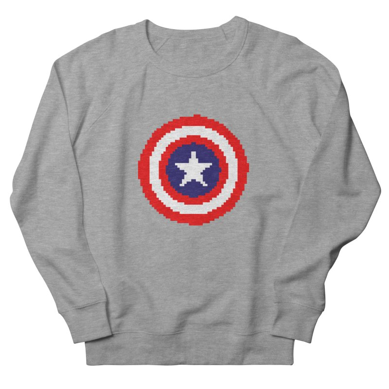 Captain America | Pixel Logo Men's French Terry Sweatshirt by Silli Philli Produktionz