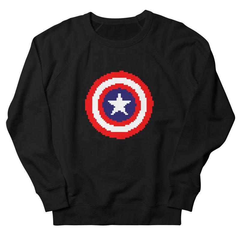 Captain America   Pixel Logo Men's French Terry Sweatshirt by Silli Philli Produktionz