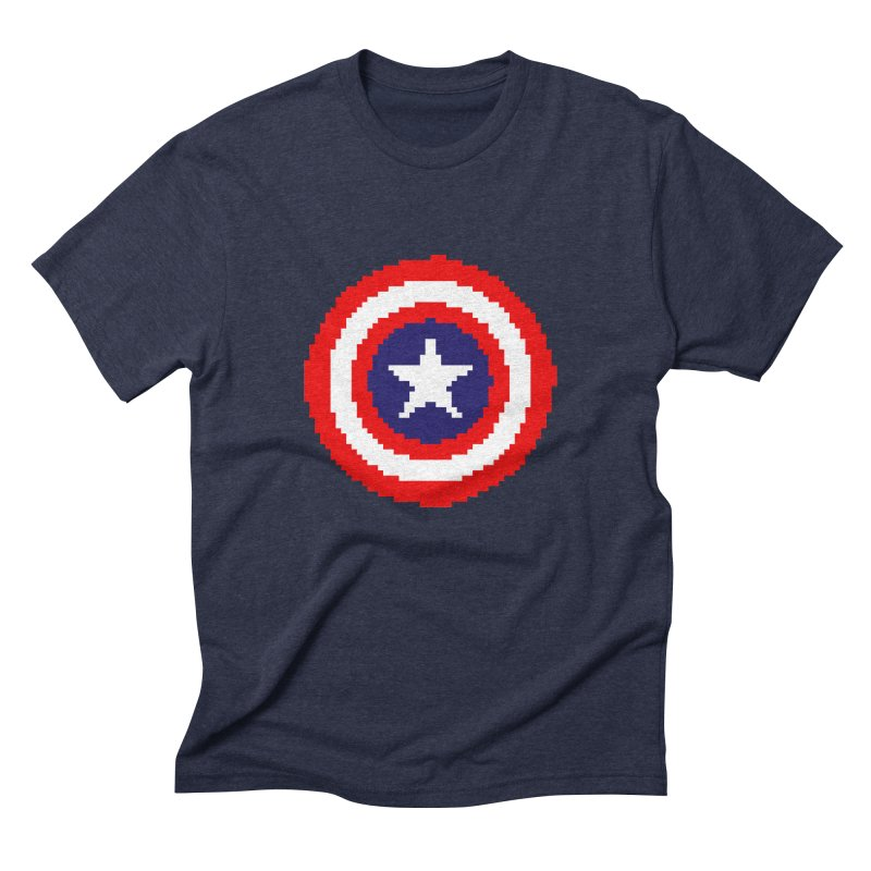 Captain America | Pixel Logo Men's Triblend T-Shirt by Silli Philli Produktionz