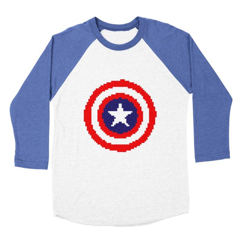 Captain America | Pixel Logo Men's Baseball Triblend Longsleeve T-Shirt by Silli Philli Produktionz