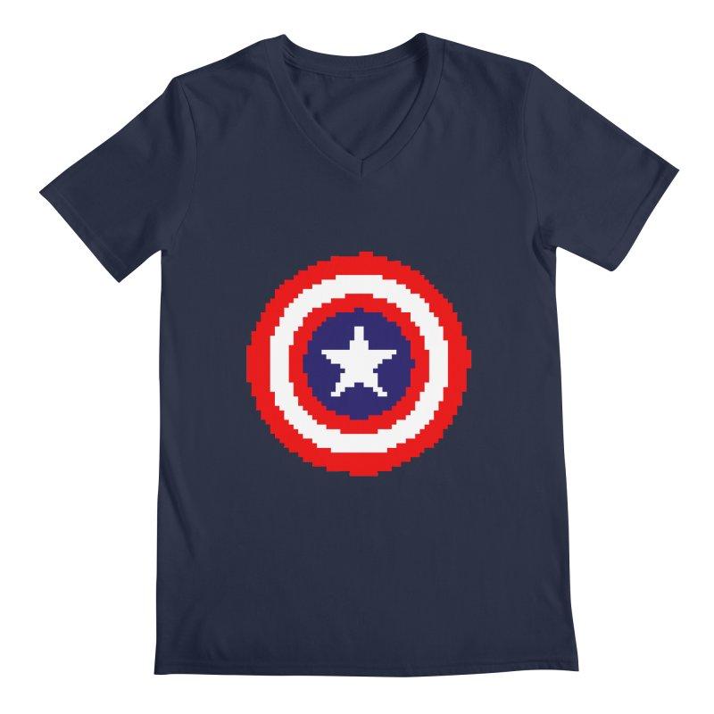 Captain America | Pixel Logo Men's Regular V-Neck by Silli Philli Produktionz