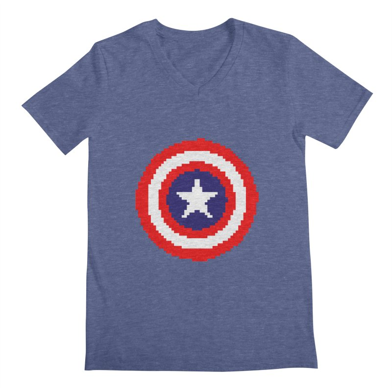 Captain America | Pixel Logo Men's Regular V-Neck by Silli Philli Produktionz