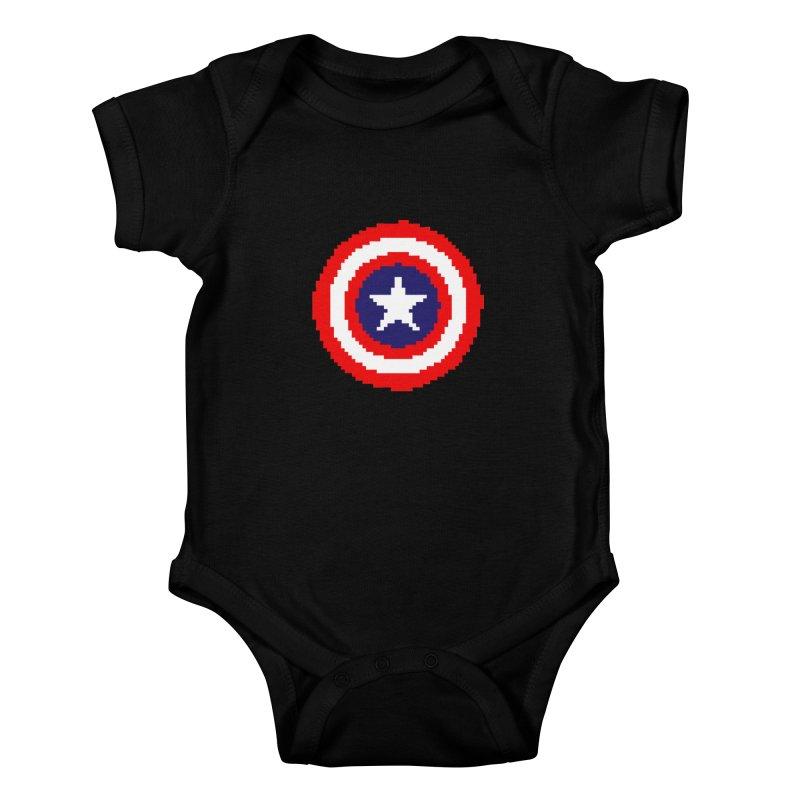 Captain America | Pixel Logo Kids Baby Bodysuit by Silli Philli Produktionz