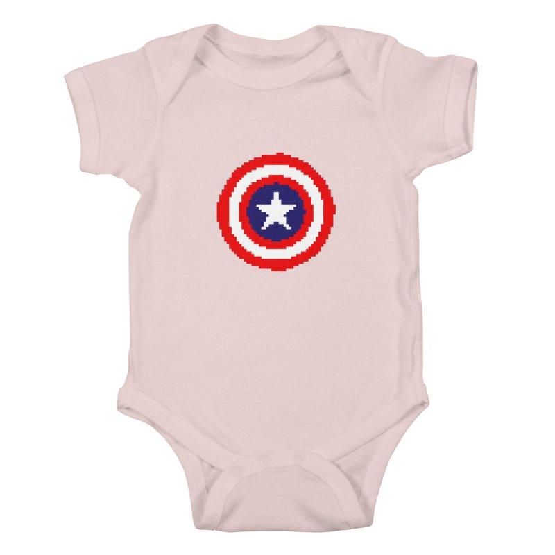 Captain America   Pixel Logo Kids Baby Bodysuit by Silli Philli Produktionz
