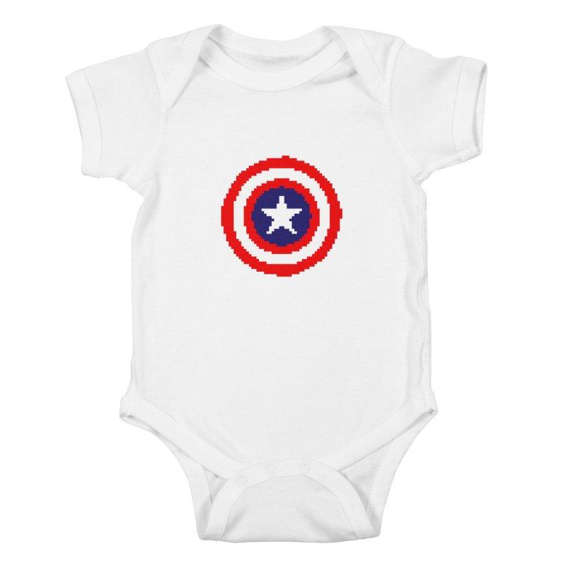 Captain America | Pixel Logo Kids Baby Bodysuit by Silli Philli Produktionz | Custom Prints
