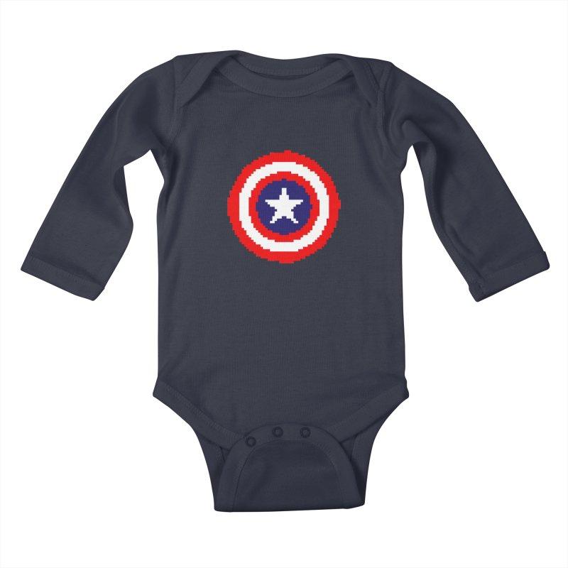 Captain America   Pixel Logo Kids Baby Longsleeve Bodysuit by Silli Philli Produktionz