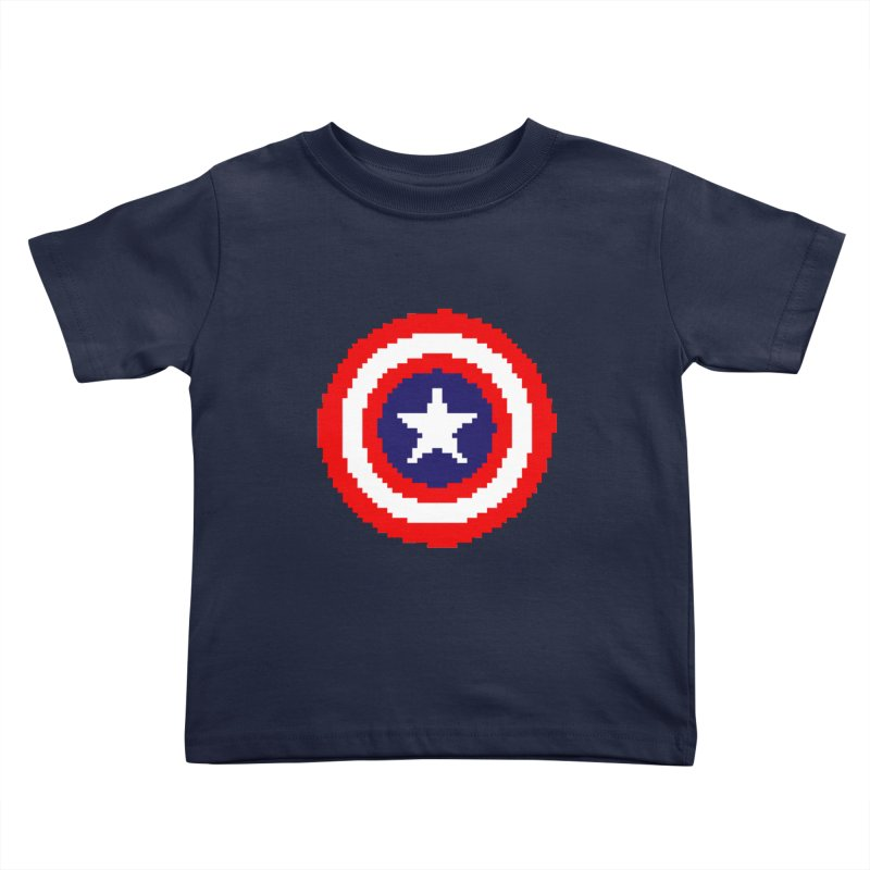 Captain America | Pixel Logo Kids Toddler T-Shirt by Silli Philli Produktionz