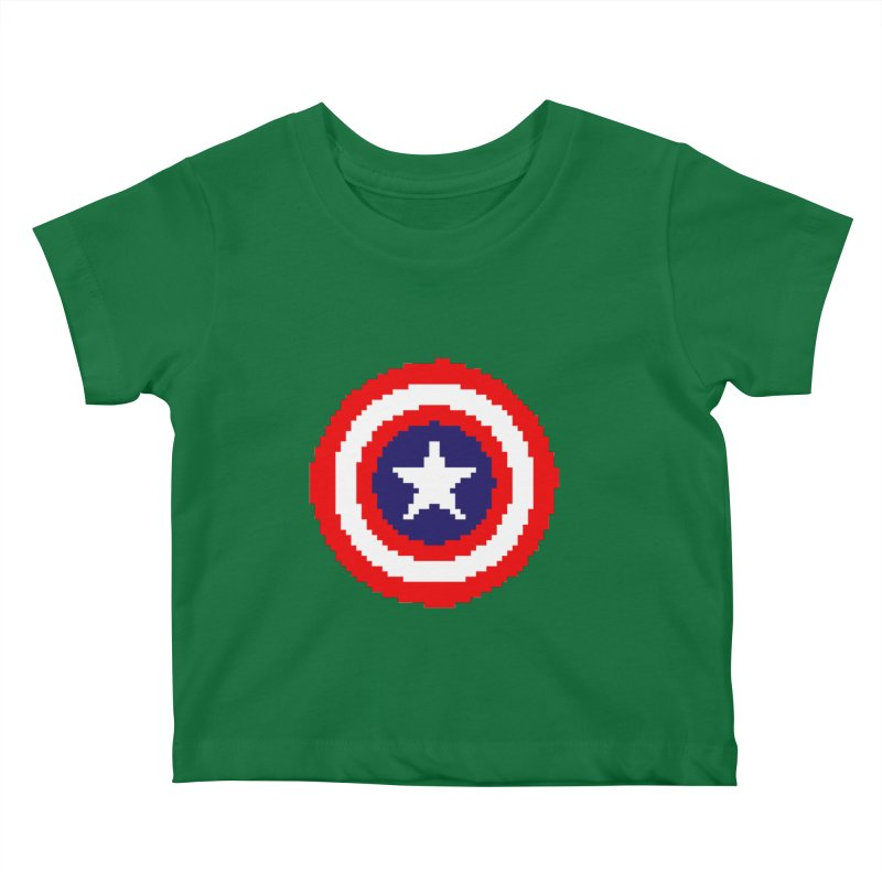 Captain America | Pixel Logo Kids Baby T-Shirt by Silli Philli Produktionz