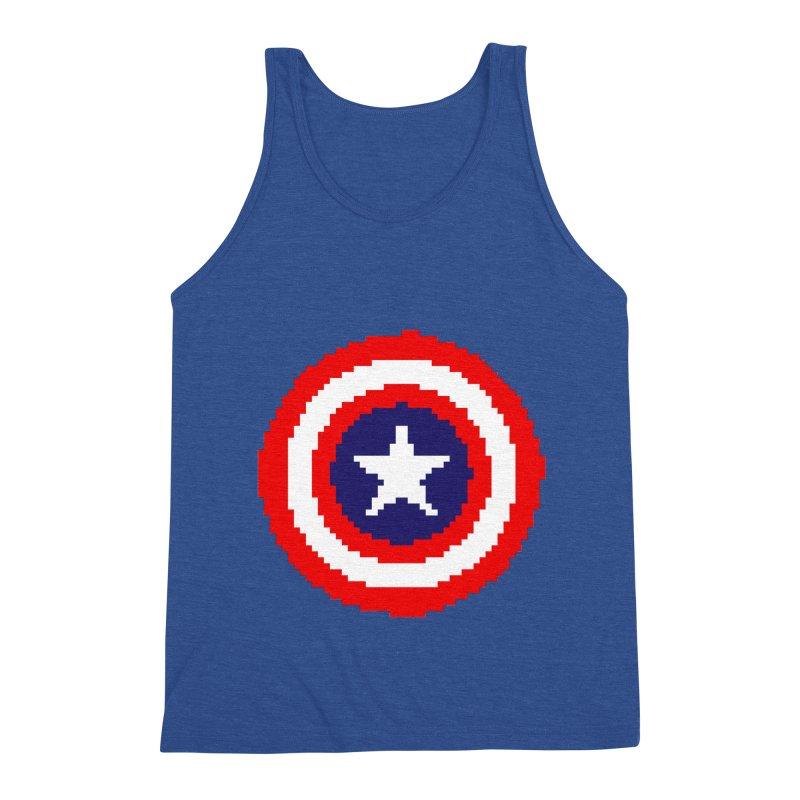Captain America   Pixel Logo Men's Tank by Silli Philli Produktionz   Custom Prints
