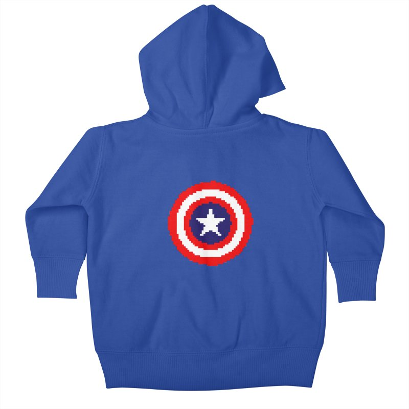 Captain America | Pixel Logo Kids Baby Zip-Up Hoody by Silli Philli Produktionz
