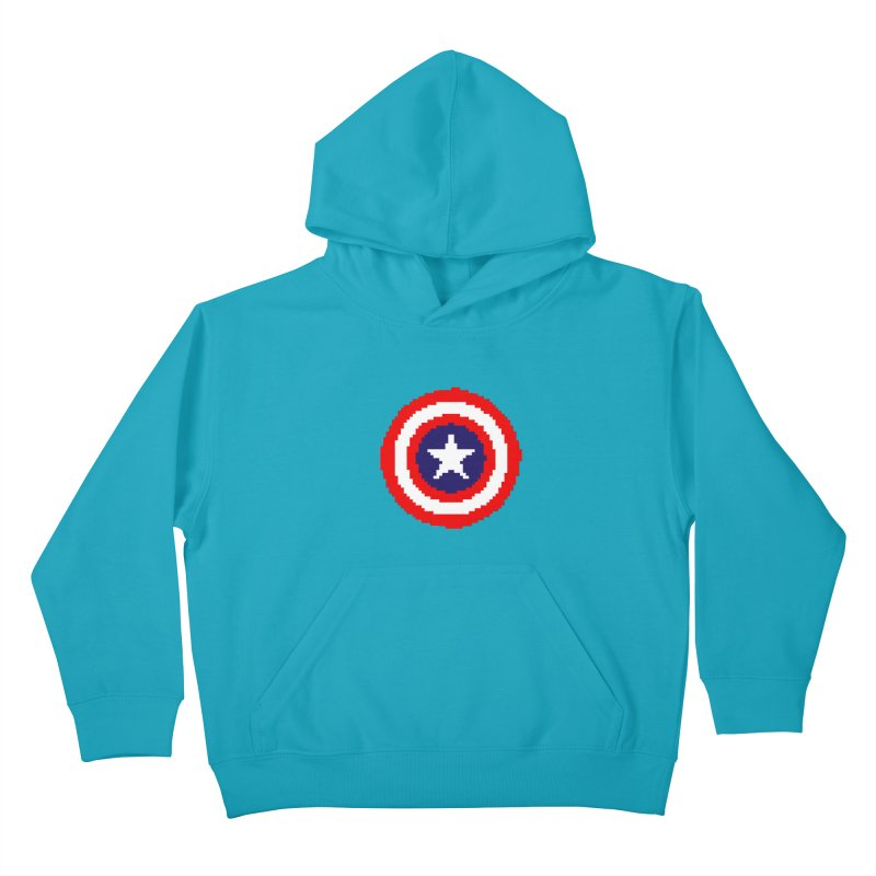 Captain America | Pixel Logo Kids Pullover Hoody by Silli Philli Produktionz