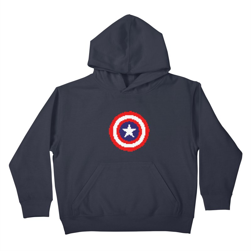 Captain America   Pixel Logo Kids Pullover Hoody by Silli Philli Produktionz