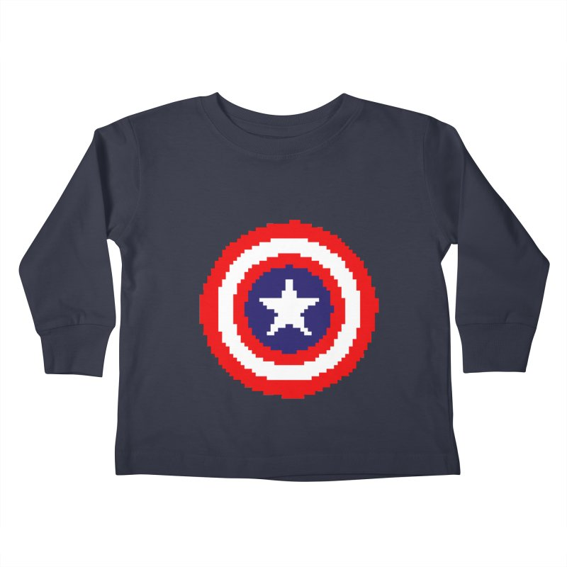 Captain America | Pixel Logo Kids Toddler Longsleeve T-Shirt by Silli Philli Produktionz