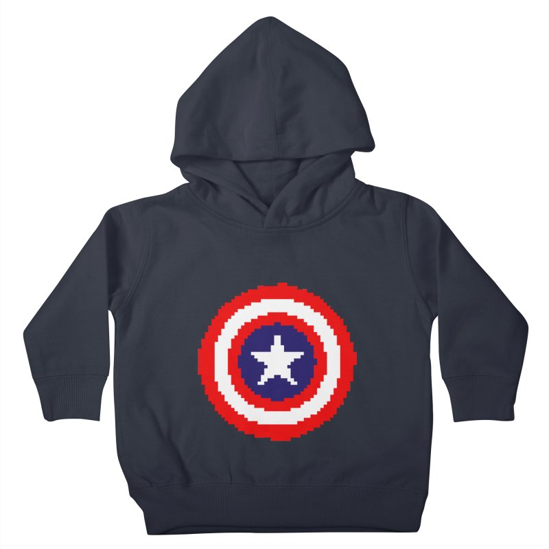 Captain America | Pixel Logo Kids Toddler Pullover Hoody by Silli Philli Produktionz