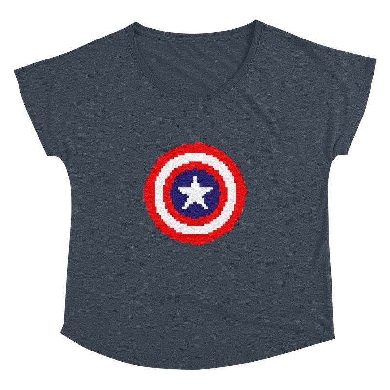 Captain America   Pixel Logo Women's Dolman Scoop Neck by Silli Philli Produktionz   Custom Prints