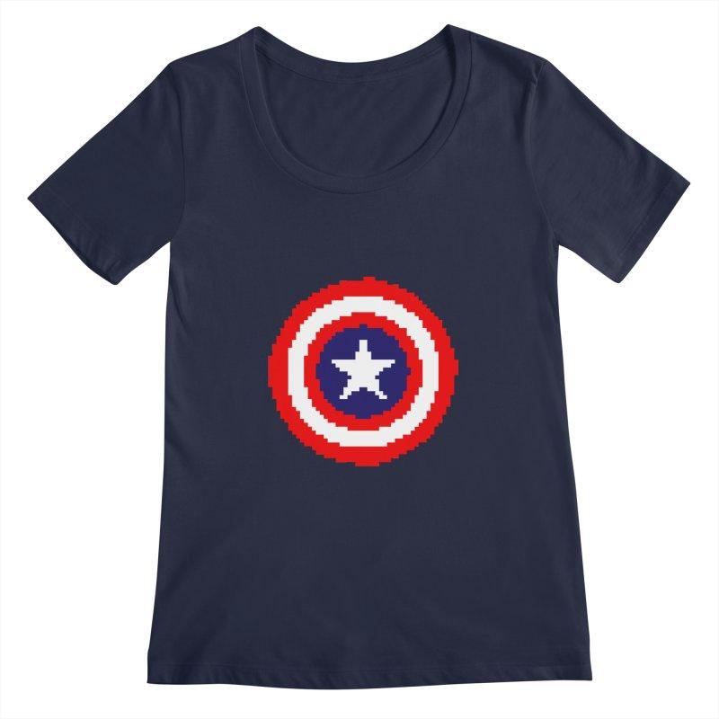 Captain America   Pixel Logo Women's Regular Scoop Neck by Silli Philli Produktionz
