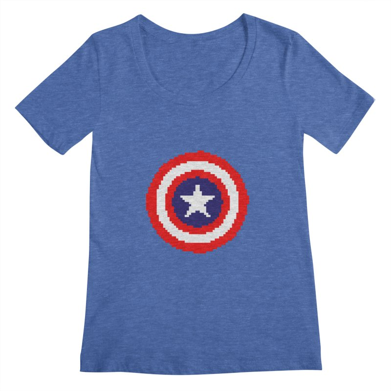 Captain America | Pixel Logo Women's Regular Scoop Neck by Silli Philli Produktionz