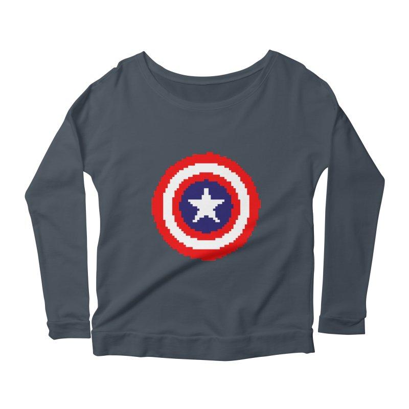 Captain America | Pixel Logo Women's Scoop Neck Longsleeve T-Shirt by Silli Philli Produktionz | Custom Prints