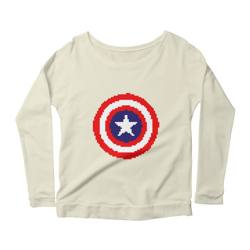 Captain America | Pixel Logo Women's Scoop Neck Longsleeve T-Shirt by Silli Philli Produktionz
