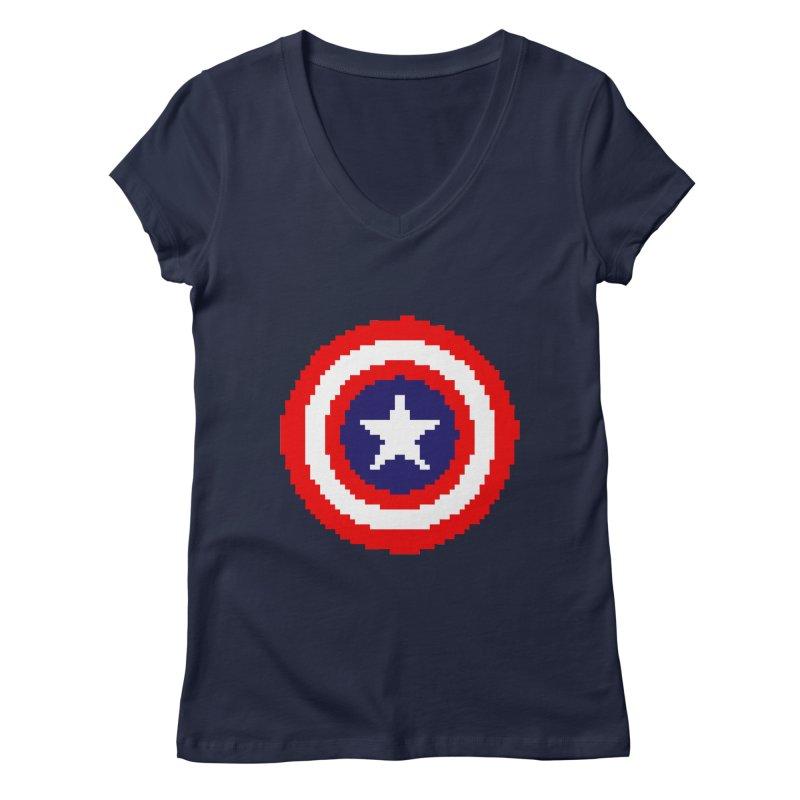 Captain America | Pixel Logo Women's Regular V-Neck by Silli Philli Produktionz