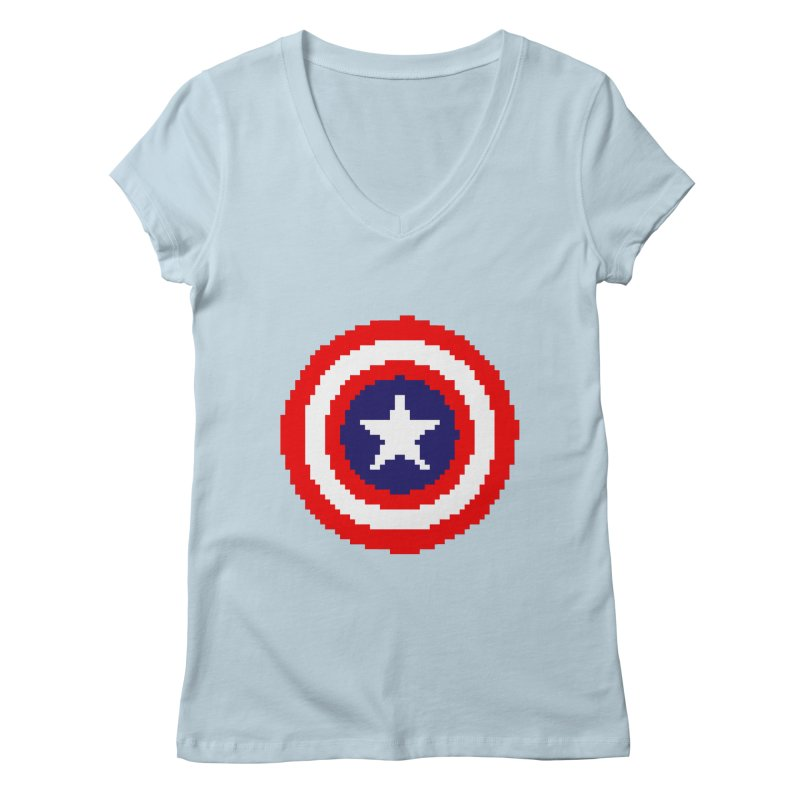 Captain America | Pixel Logo in Women's Regular V-Neck Baby Blue by Silli Philli Produktionz