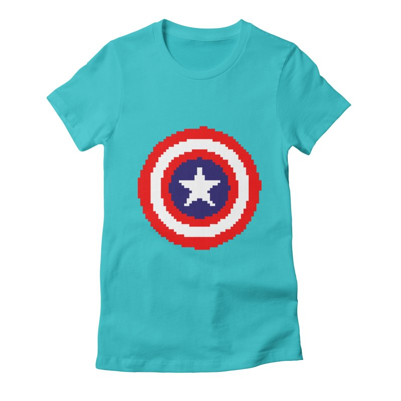 Captain America | Pixel Logo Women's Fitted T-Shirt by Silli Philli Produktionz