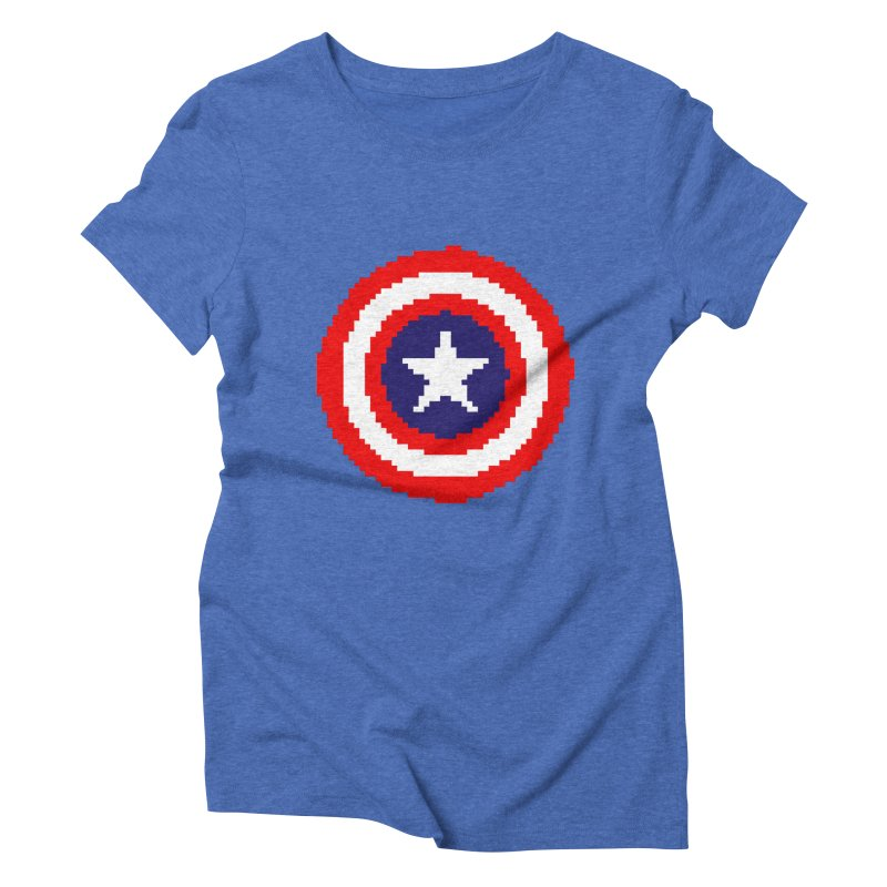 Captain America | Pixel Logo Women's Triblend T-Shirt by Silli Philli Produktionz