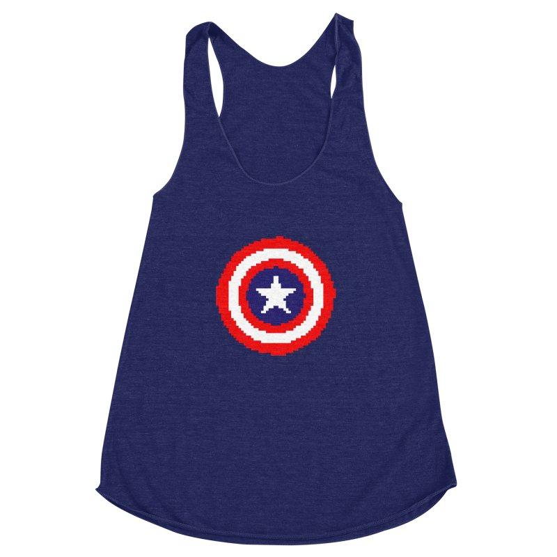 Captain America   Pixel Logo Women's Racerback Triblend Tank by Silli Philli Produktionz