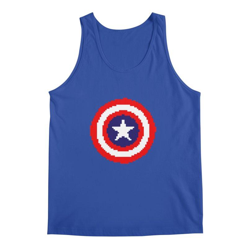 Captain America | Pixel Logo Men's Regular Tank by Silli Philli Produktionz
