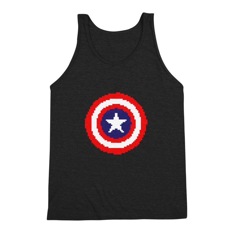 Captain America | Pixel Logo Men's Triblend Tank by Silli Philli Produktionz