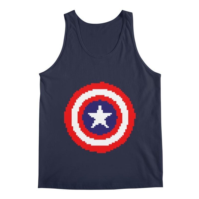 Captain America | Pixel Logo Men's Regular Tank by Silli Philli Produktionz | Custom Prints