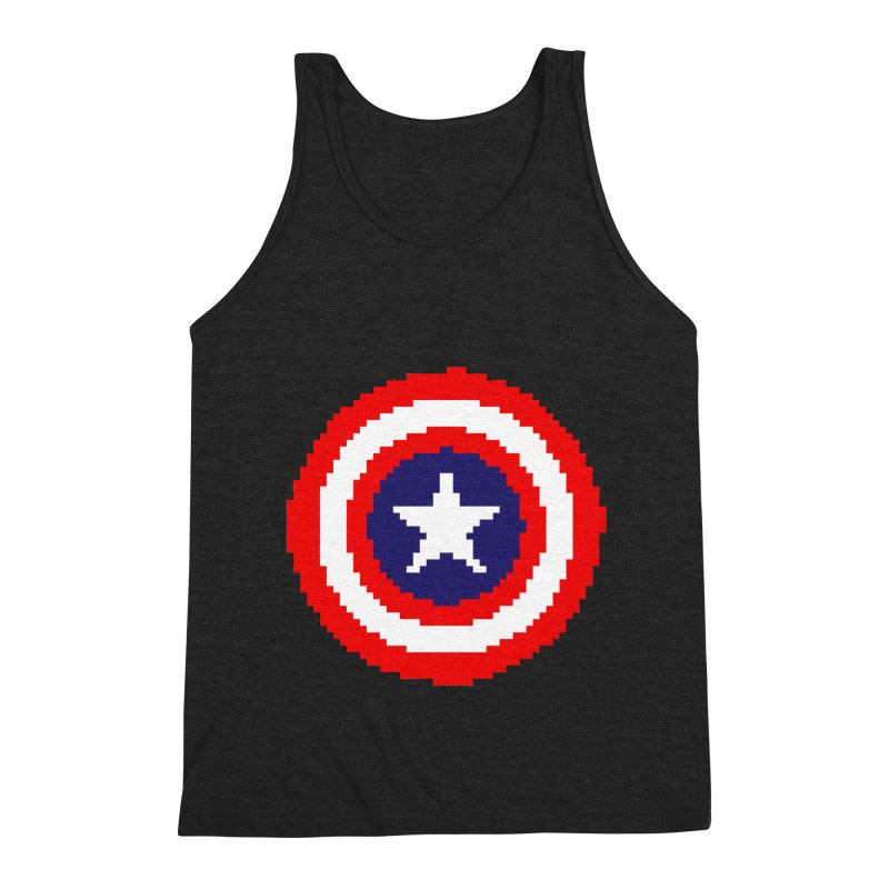 Captain America | Pixel Logo Men's Triblend Tank by Silli Philli Produktionz | Custom Prints