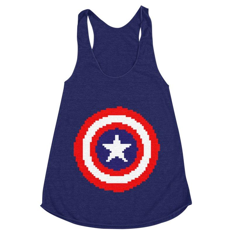 Captain America | Pixel Logo Women's Racerback Triblend Tank by Silli Philli Produktionz