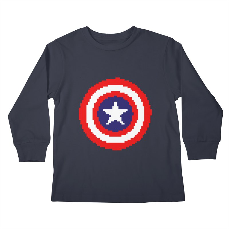 Captain America | Pixel Logo Kids Longsleeve T-Shirt by Silli Philli Produktionz | Custom Prints