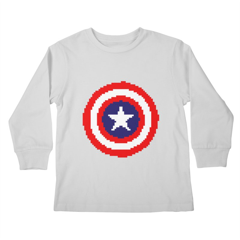 Captain America | Pixel Logo Kids Longsleeve T-Shirt by Silli Philli Produktionz