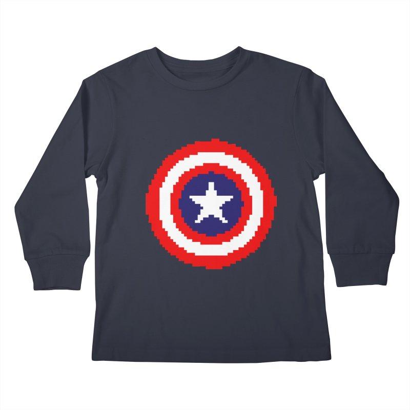 Captain America   Pixel Logo Kids Longsleeve T-Shirt by Silli Philli Produktionz