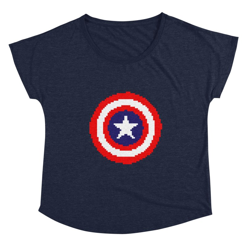 Captain America | Pixel Logo Women's Scoop Neck by Silli Philli Produktionz | Custom Prints