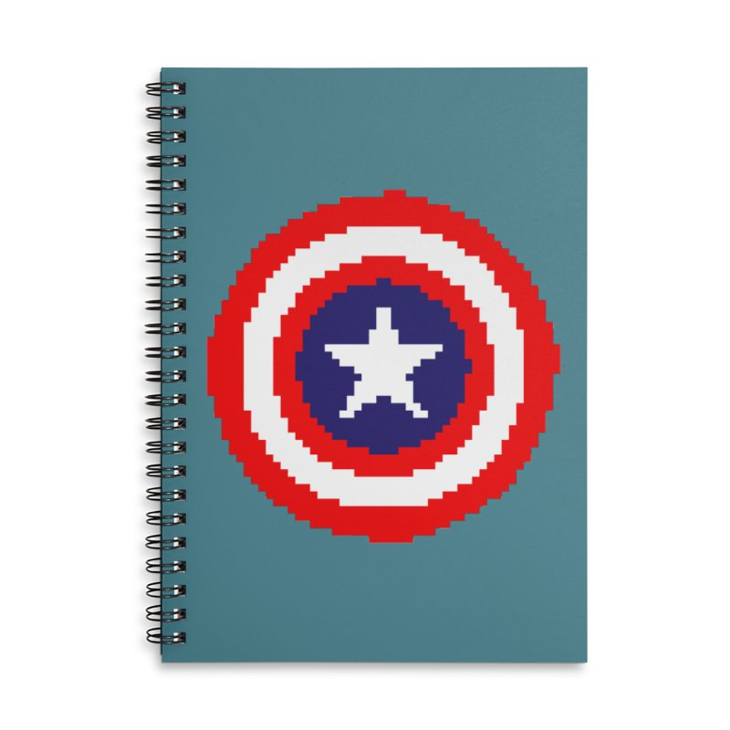 Captain America | Pixel Logo Accessories Lined Spiral Notebook by Silli Philli Produktionz | Custom Prints