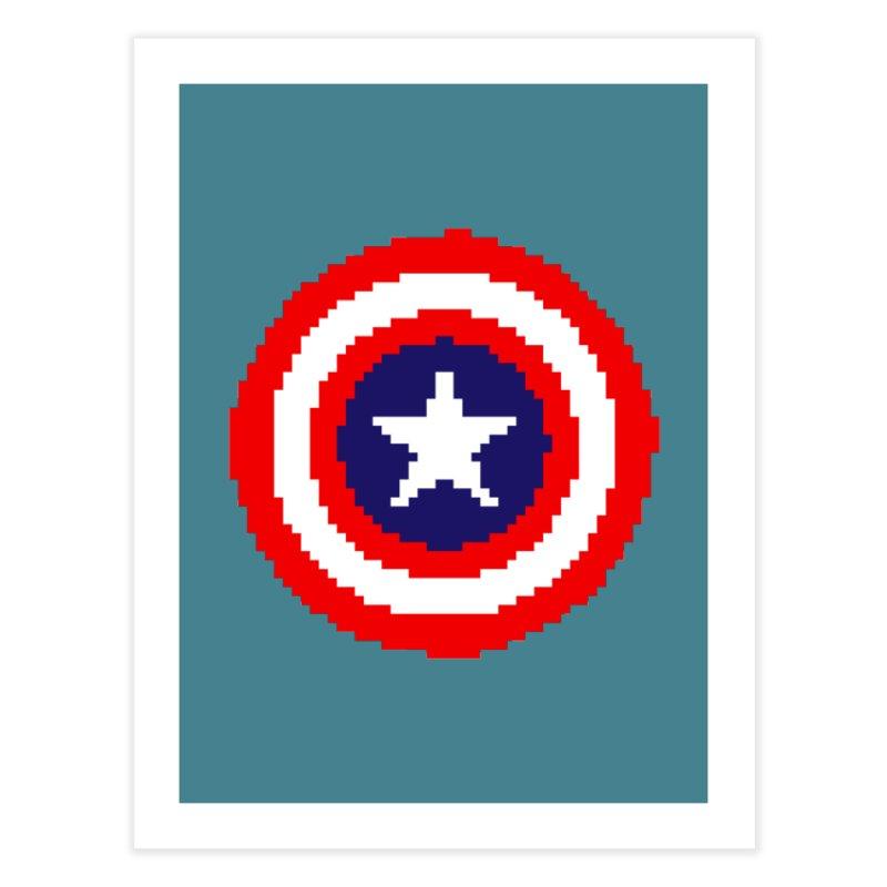 Captain America | Pixel Logo Home Fine Art Print by Silli Philli Produktionz