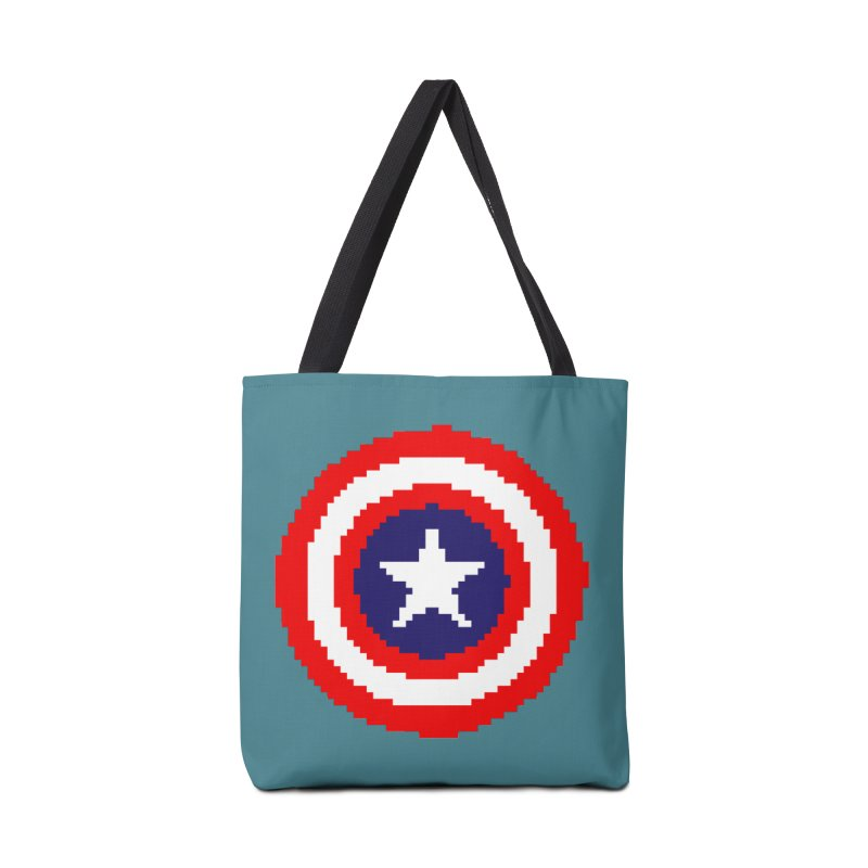 Captain America | Pixel Logo Accessories Tote Bag Bag by Silli Philli Produktionz | Custom Prints