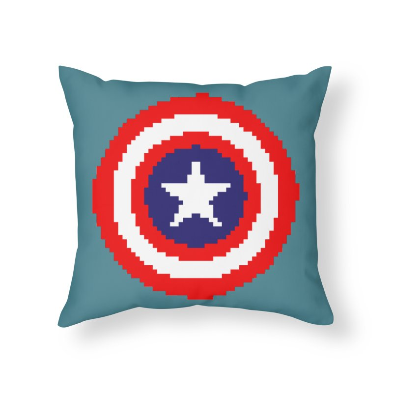 Captain America | Pixel Logo Home Throw Pillow by Silli Philli Produktionz