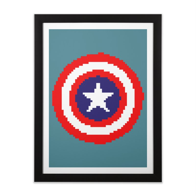 Captain America | Pixel Logo Home Framed Fine Art Print by Silli Philli Produktionz